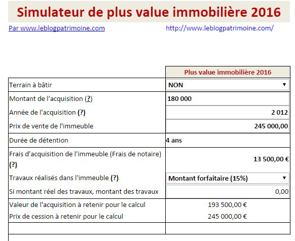 Simulateur Plus Value Immobiliere 2020 Un Impot Degressif