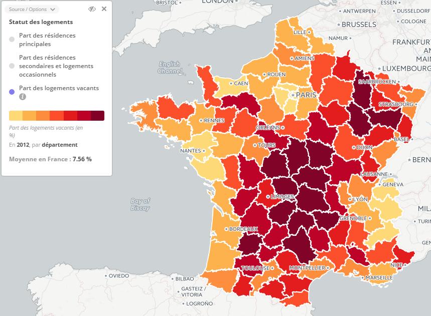 Part des logements vacant par département - Source : Datafrance